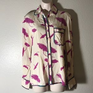 Tucker nyc hummingbird nectar button up blouse